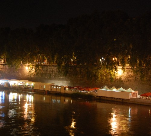 bars along Tiber River in Rome