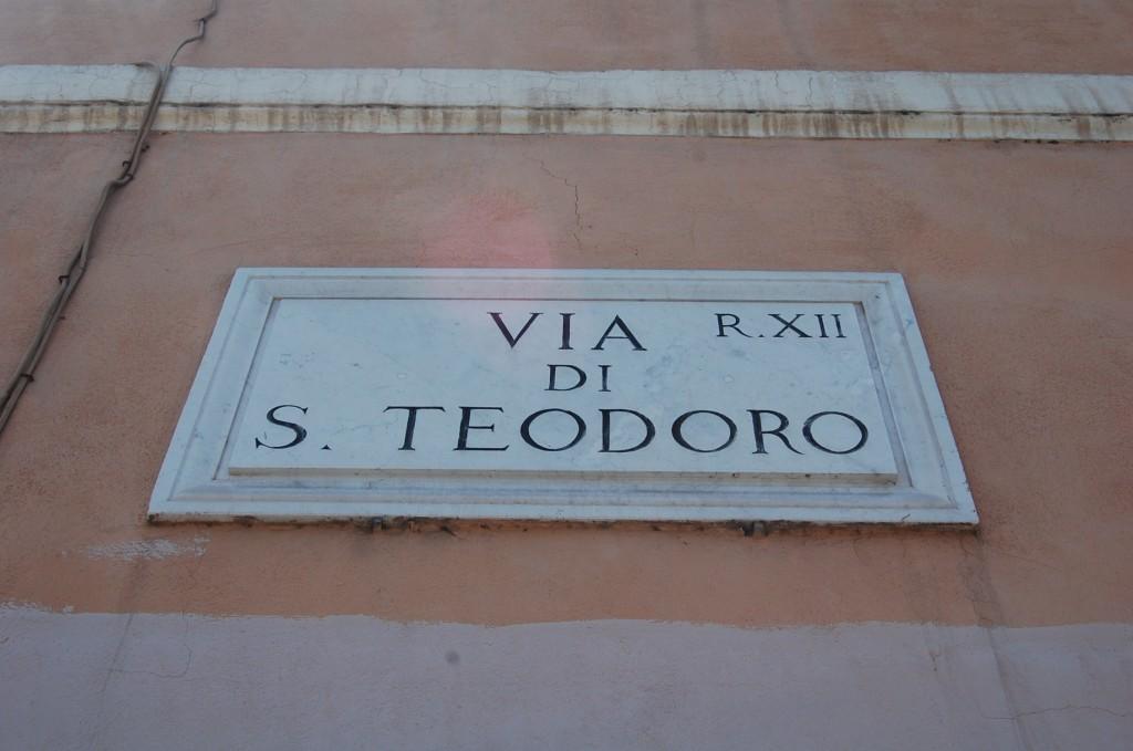 street sign or via di s teodoro roma