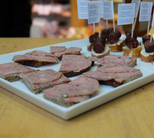 A tray of cured meats and bread in Berlin Mitte