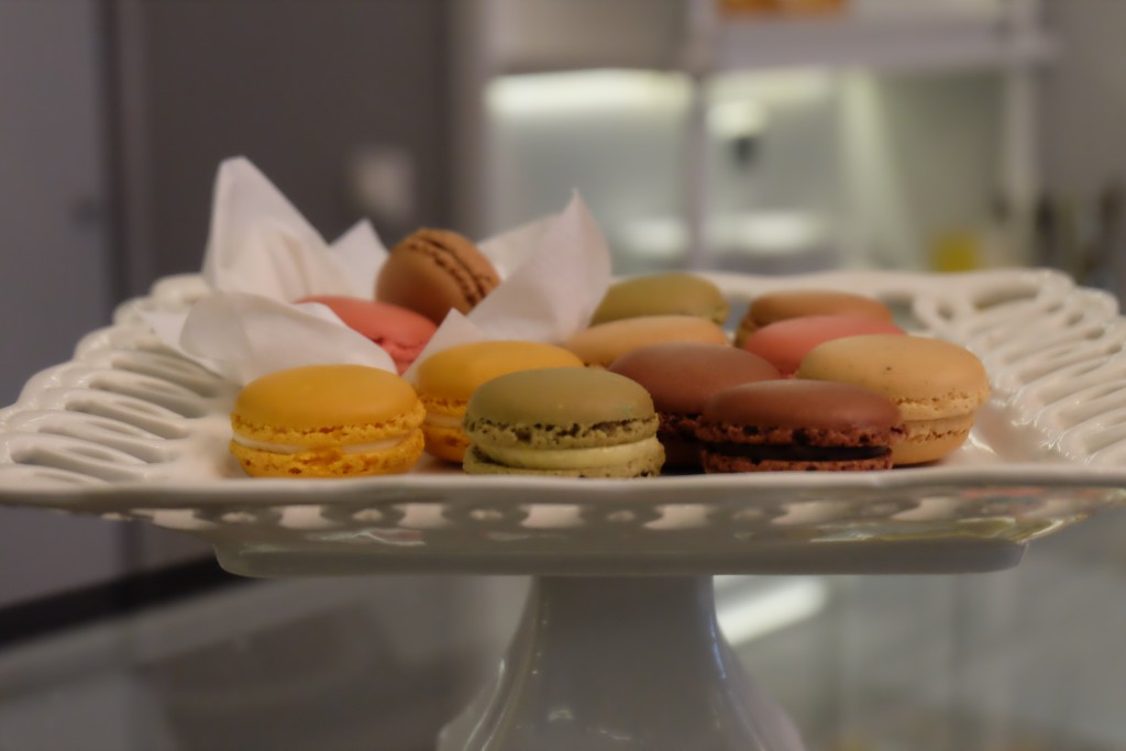 colorful macaroons on a platter