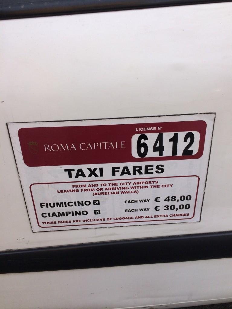Rome taxi airport fare 2015