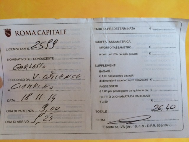 Price of a Taxi to and from Rome's Airports