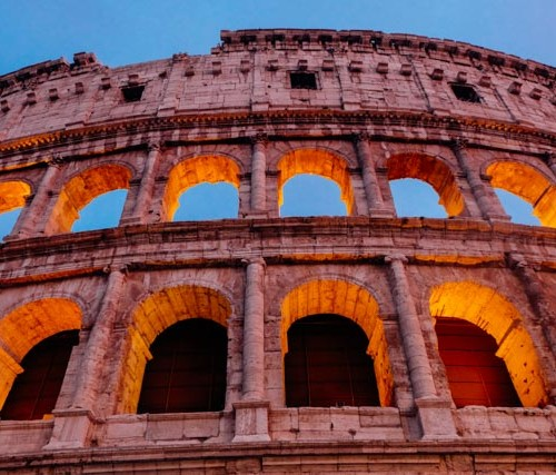 Sun setting at the Colosseum in Rome