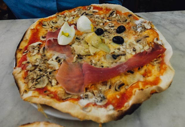 Capriciosa pizza at Ai Marmi