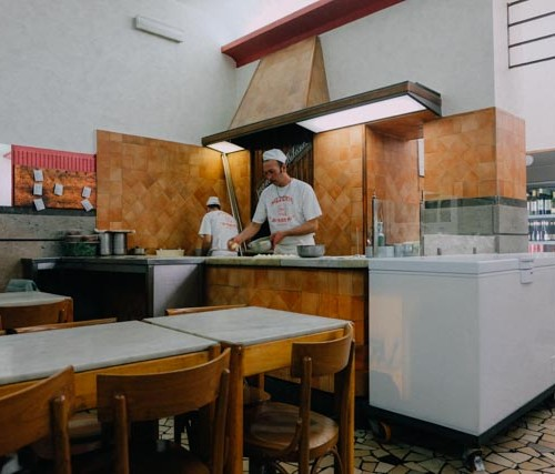 Pizza making at Ai Marmi