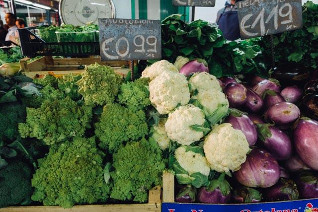 Fresh vegetables at Mercato Esquilino Rome
