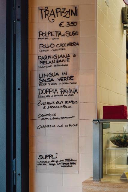 handwritten daily menu at Trapizzino rome