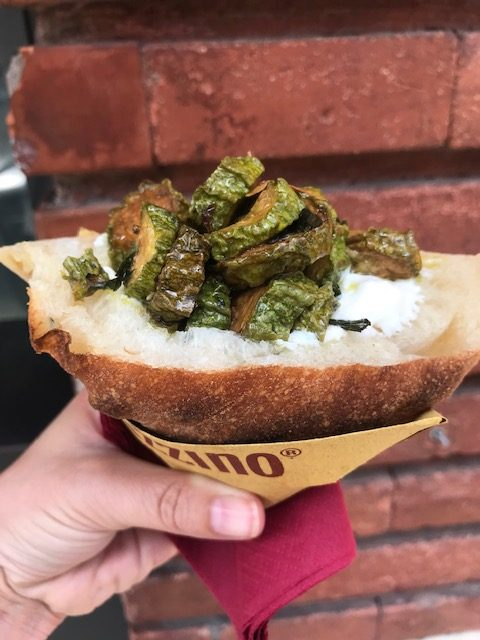 hand holding trapizzino sandwich filled with vegetables