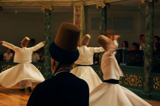 watching whirling dervishes in Istanbul