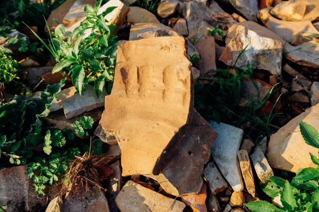 handprint in pottery
