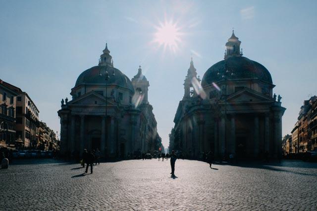 Twin churches piazza del popolo