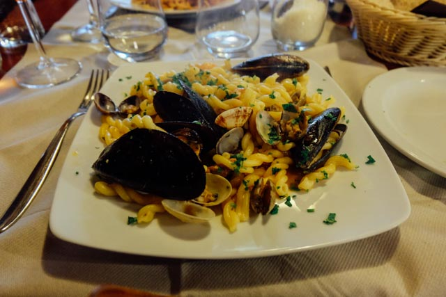 strozzapreti with seafood