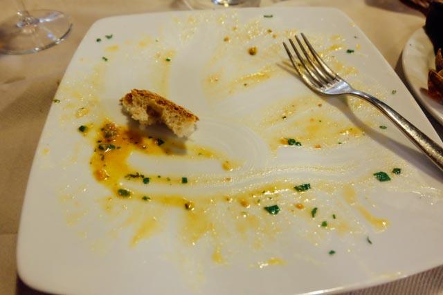 empty plate of Italian food