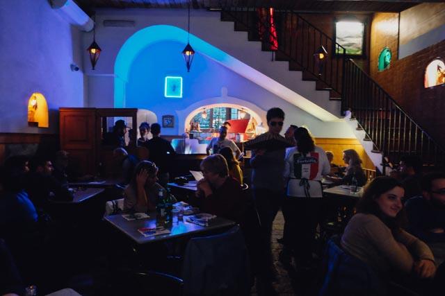 Blue lighting inside Gino Sorbillo pizzeria
