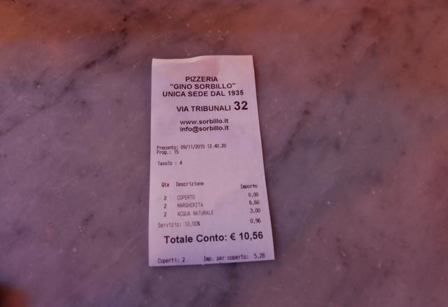 receipt showing the price of pizza at Sorbillo Naples