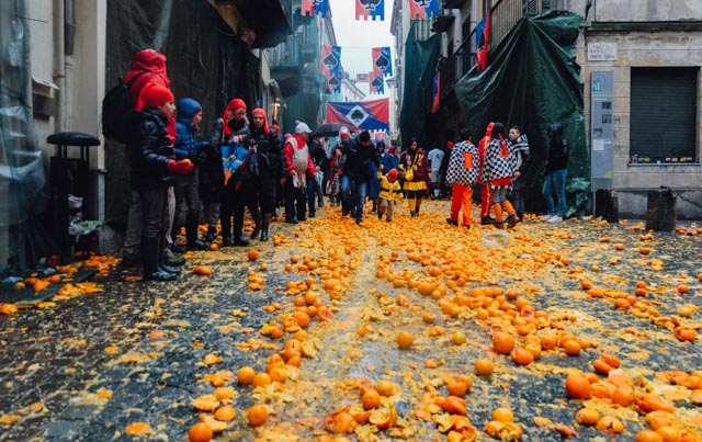 Watching the Battle of the Oranges in Ivrea, Italy