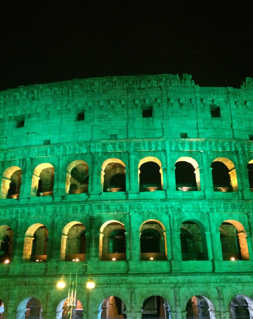Colosseum green on St. Patricks day
