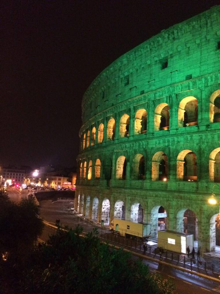 Green colosseum in Rome