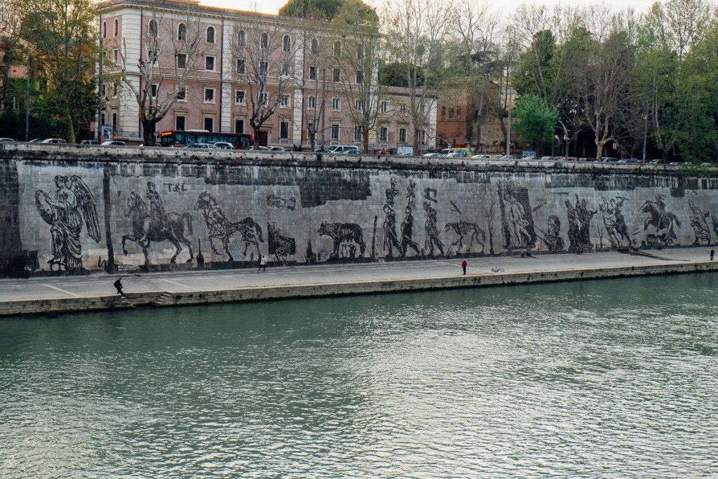 Street art along River in Rome
