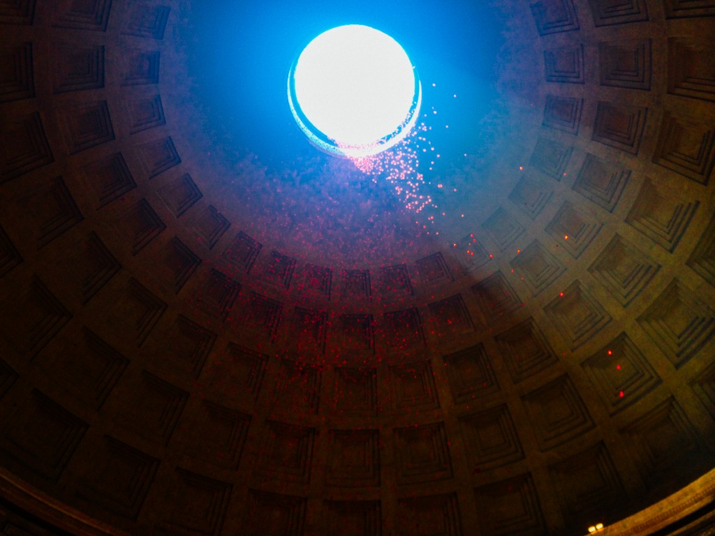 roses falling from the Pantheon