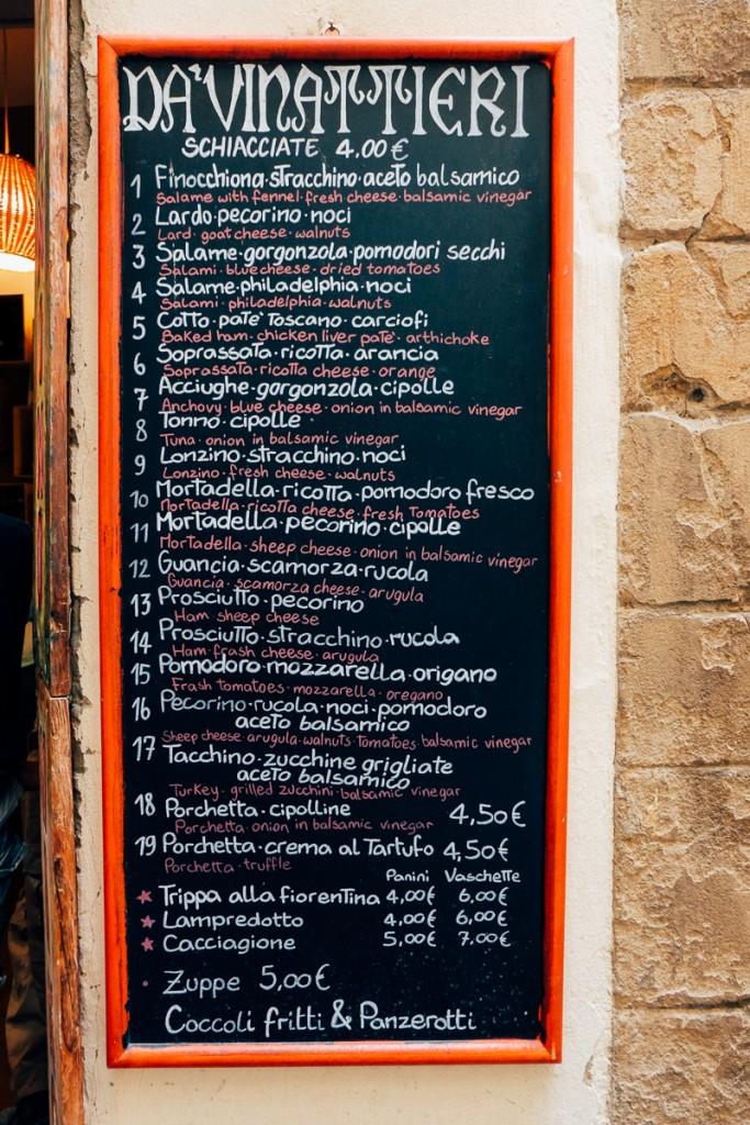 da viniattieri florence menu