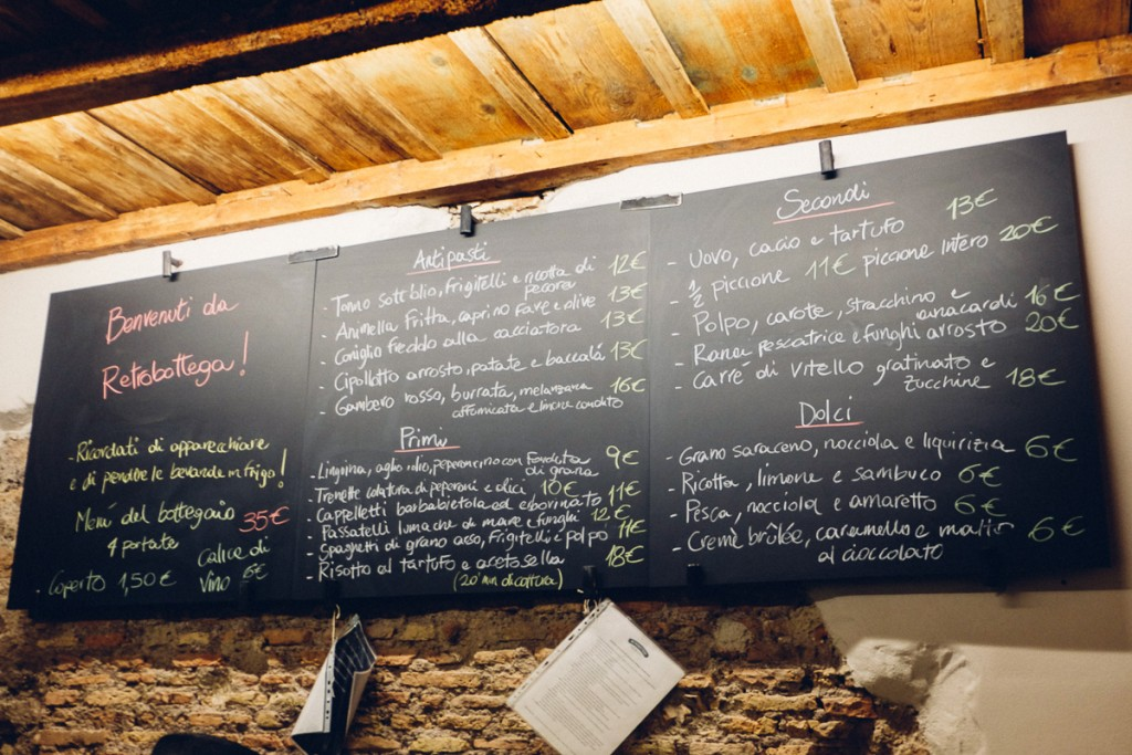 Retro bottega Rome menu