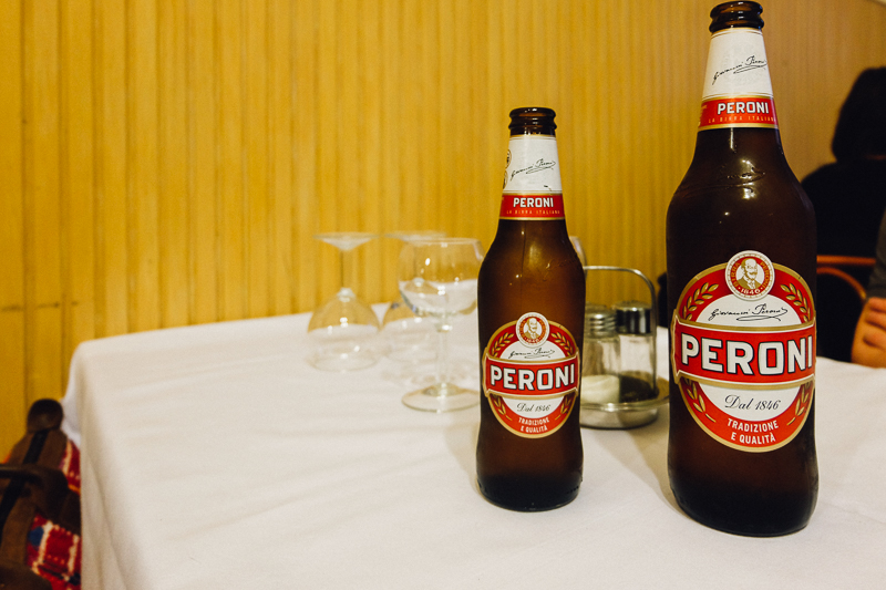 Peroni beer bottles