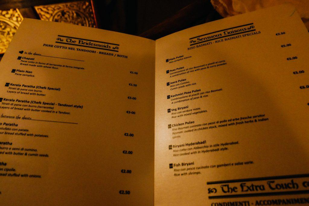 Krishna13 Rome menu