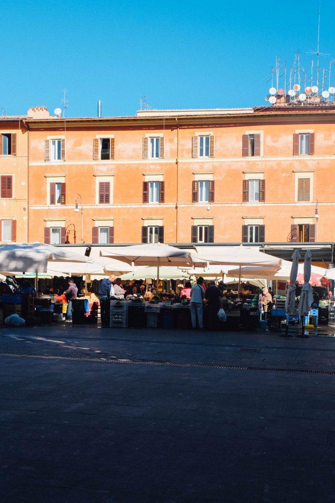Daily fresh market in Rome's Trastevere neighborhood