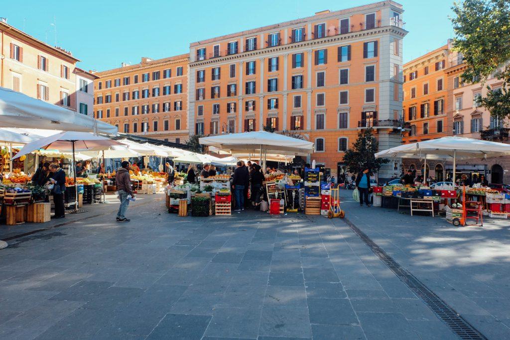 Trastevere San Cosimato square with a traditional market