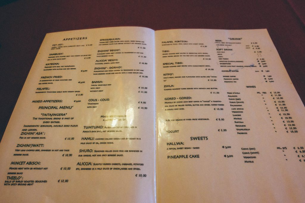 africa-ethiopian-food-rome menu