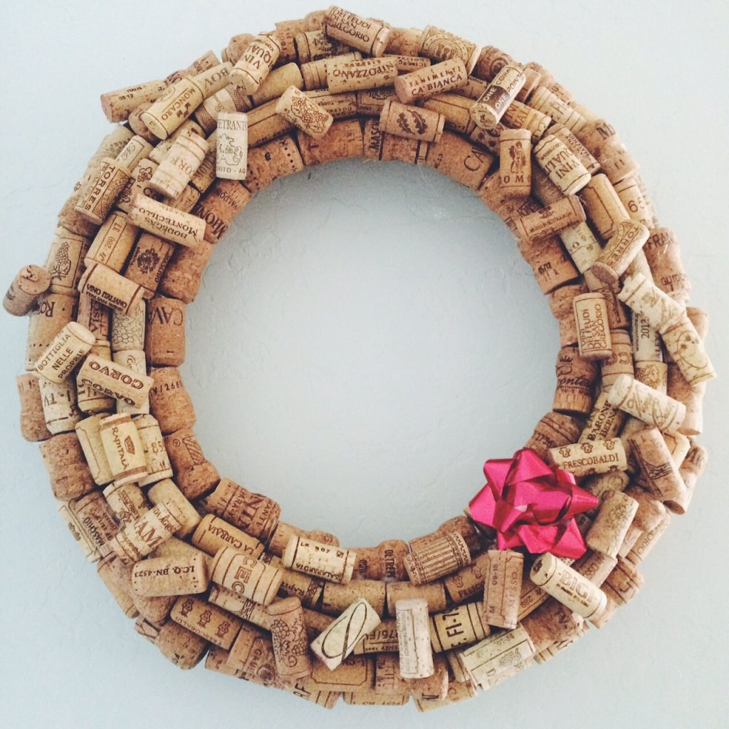 Celebrate the holidays with a wine cork wreath