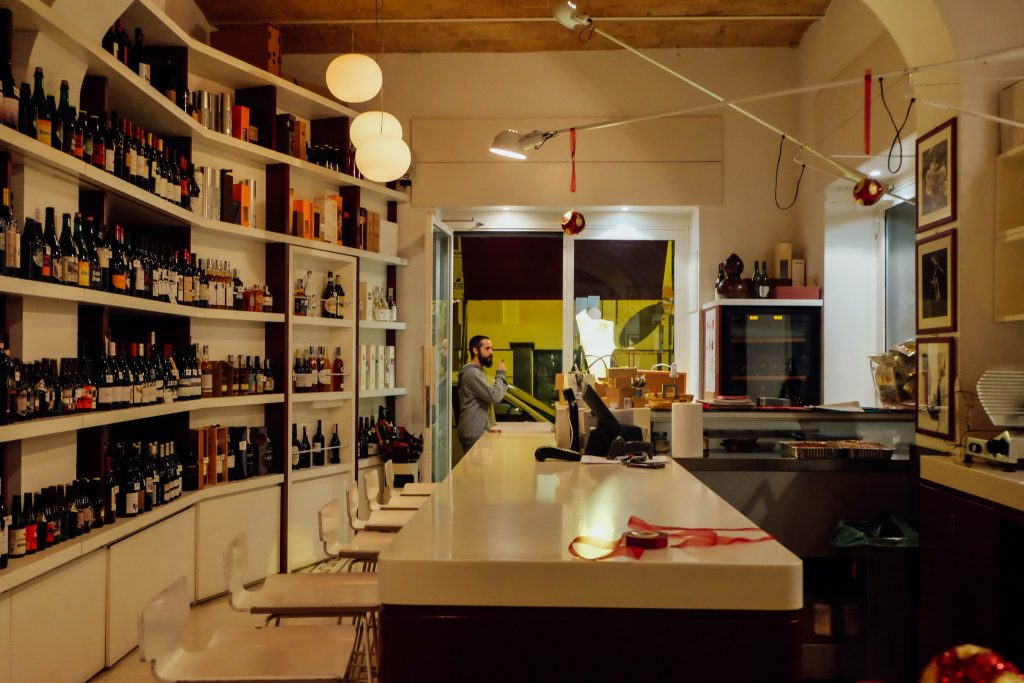 Wine bar in Rome Italy