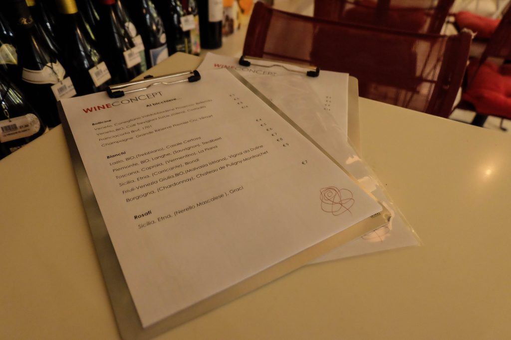 Wine Concept wine bar menu