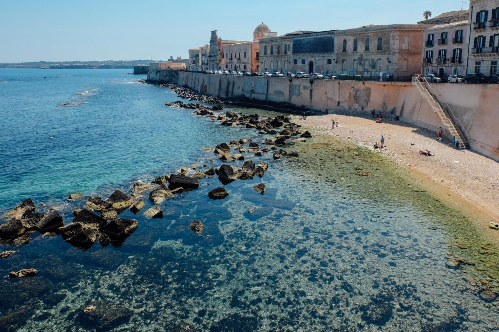 Water outside the walls of Oritigia Sicily in Siracusa
