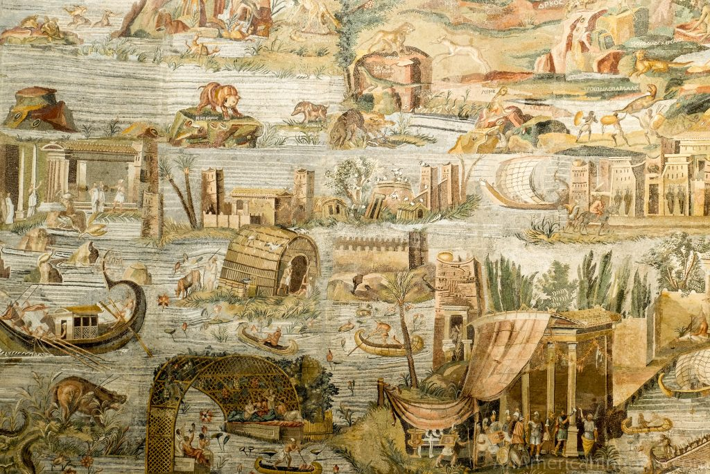close up detail of the nile scene in the famous mosaic in Palestrina Italy