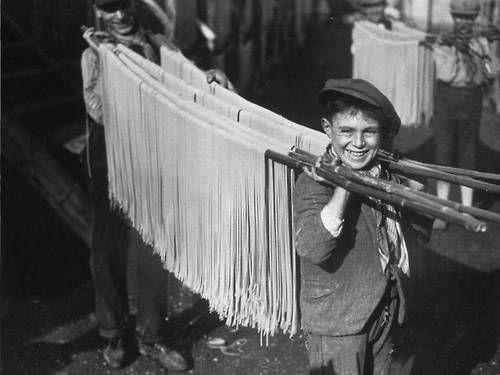 Boys carrying Spaghetti in vintage Italian photo
