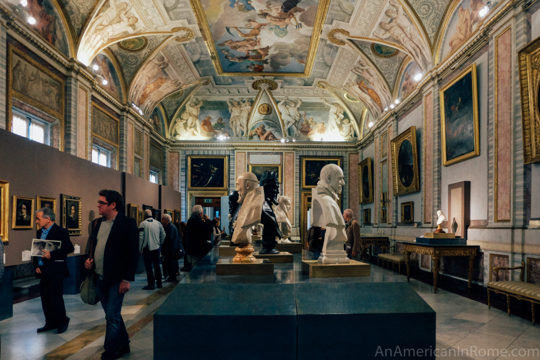 frescoed room upstairs at Galleria Borghese art museum in Rome
