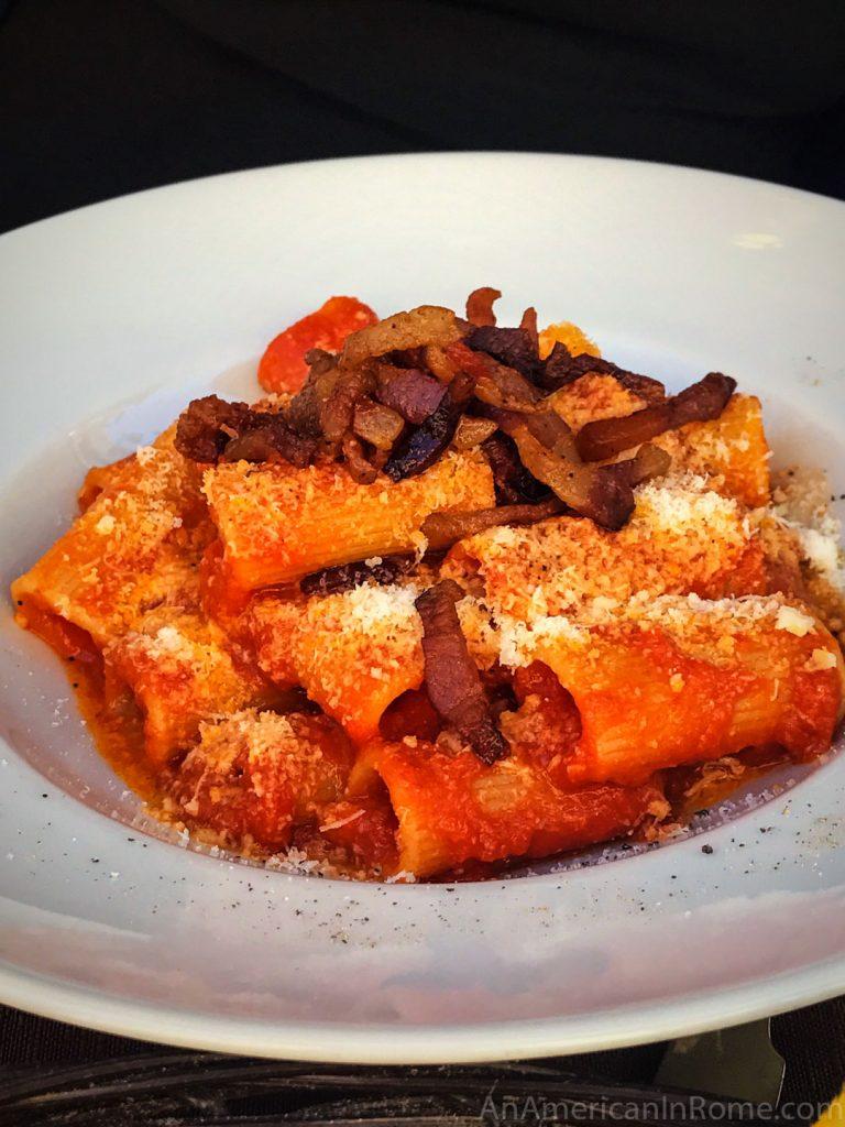 Pasta with red sauce and bacon at Grappolo d'Oro near Campo de' Fiori in Rome