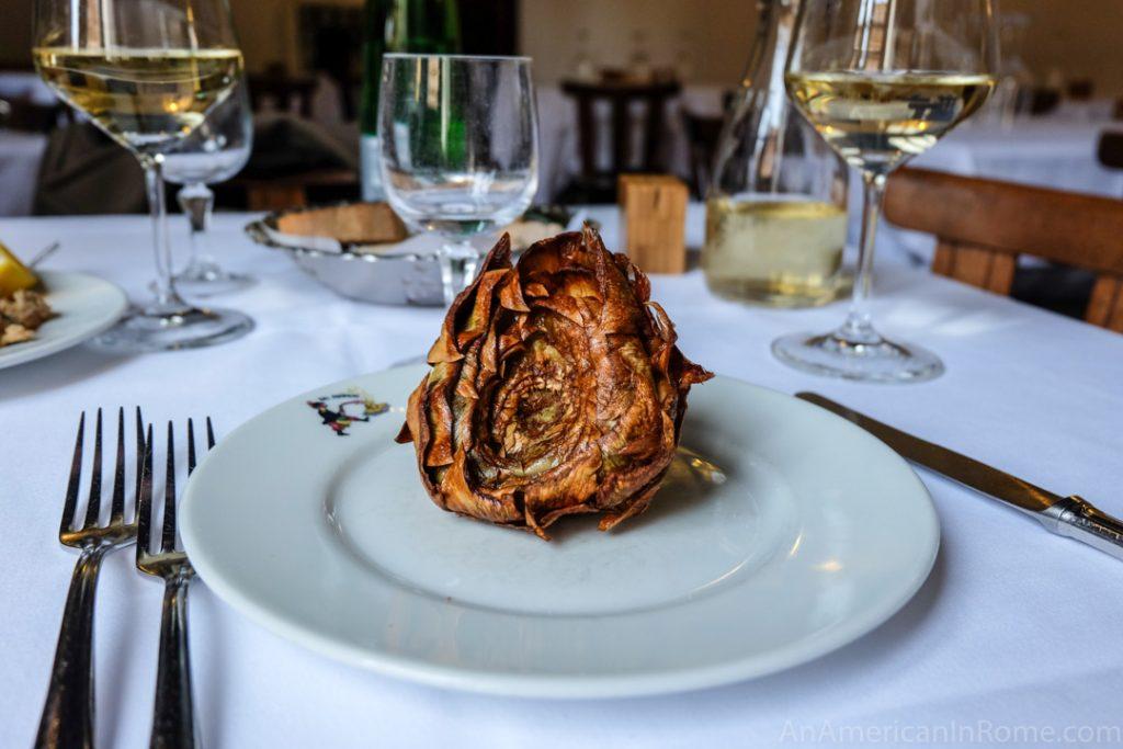 fried artichoke at Al Pompiere in rome