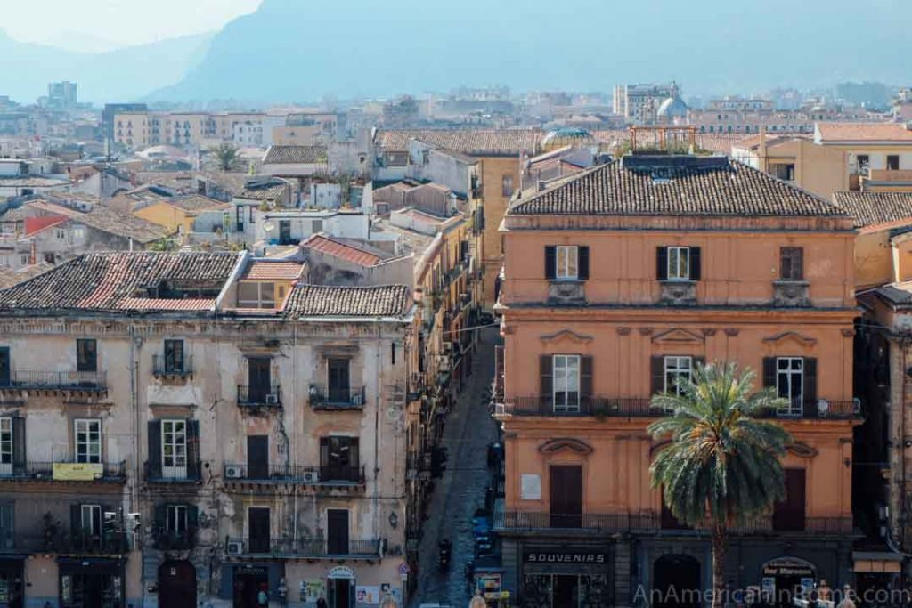 view of the city of Palermo Sicily from the cathedral rooftop