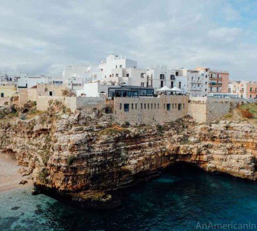 white clifftop houses in Polignano a Mare Puglia
