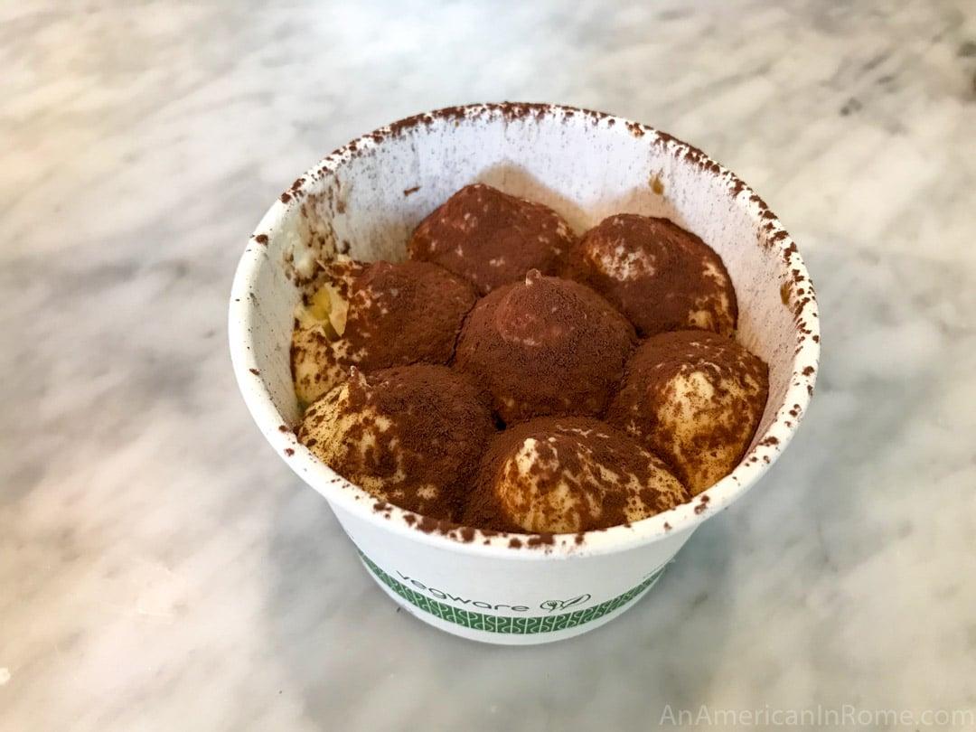 A cup of tiramisu from ZUM dessert shop in Rome