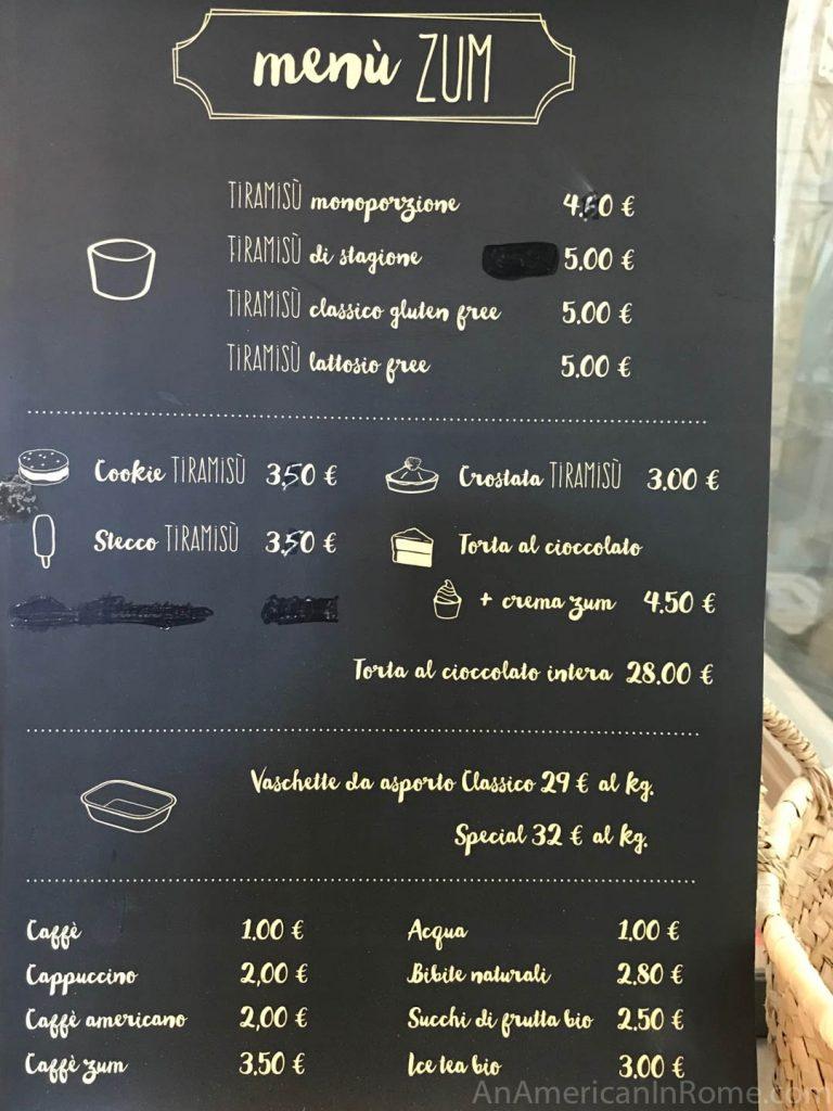 The menu from ZUM tiramisu shop in Rome