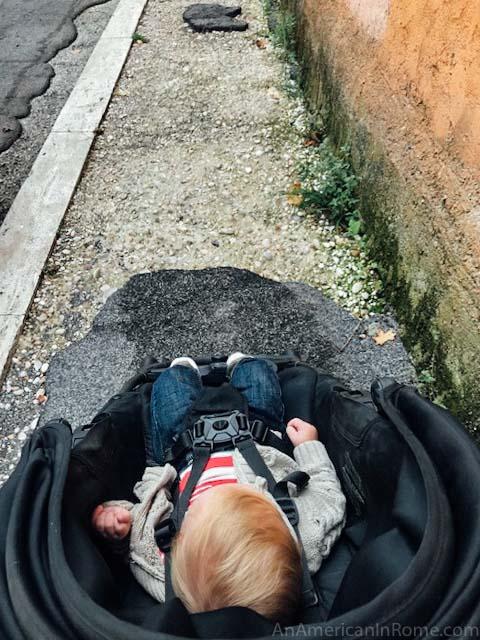 Baby stroller in Rome Italy