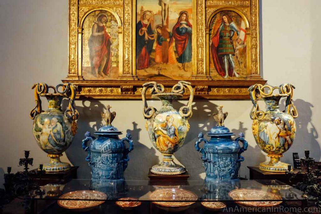 Renaissance pottery inside the Bagatti Valsecchi Museum