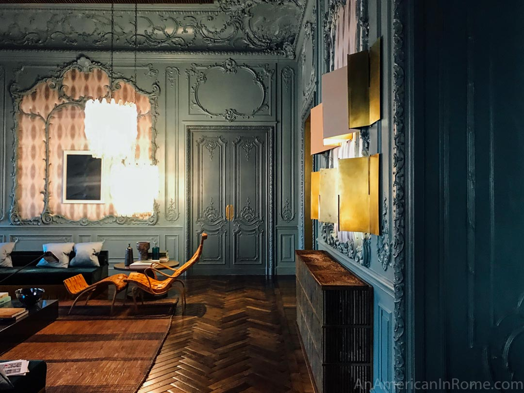 Blue paint on the original walls of the Palazzo Fendi private VIP fitting room in Rome