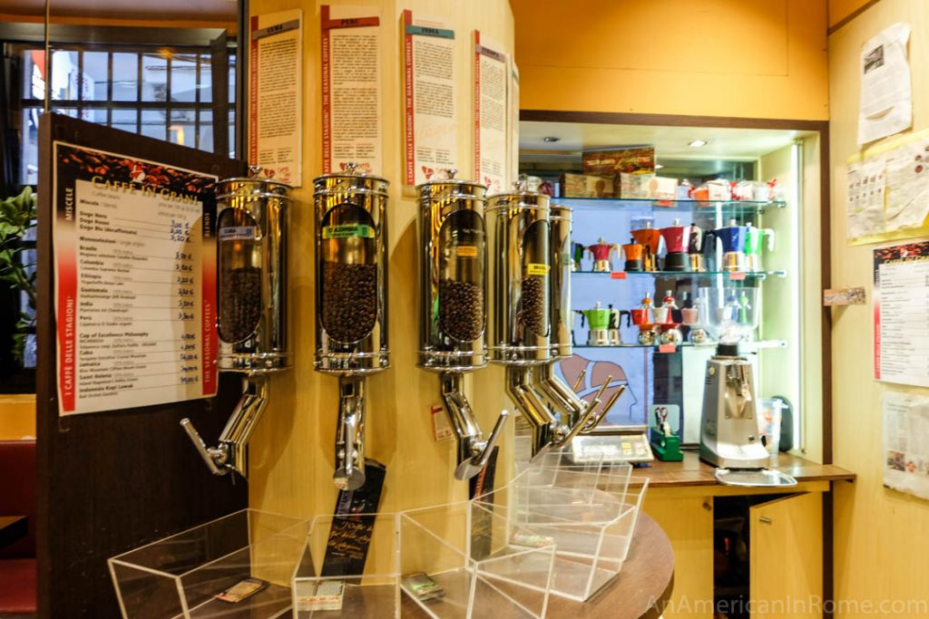 Coffee bean dispensers at caffe del doge
