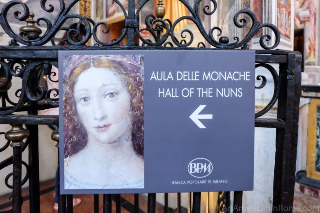 Hall of the nuns signs in San Maurizio a Monastero Maggiore church in Milan