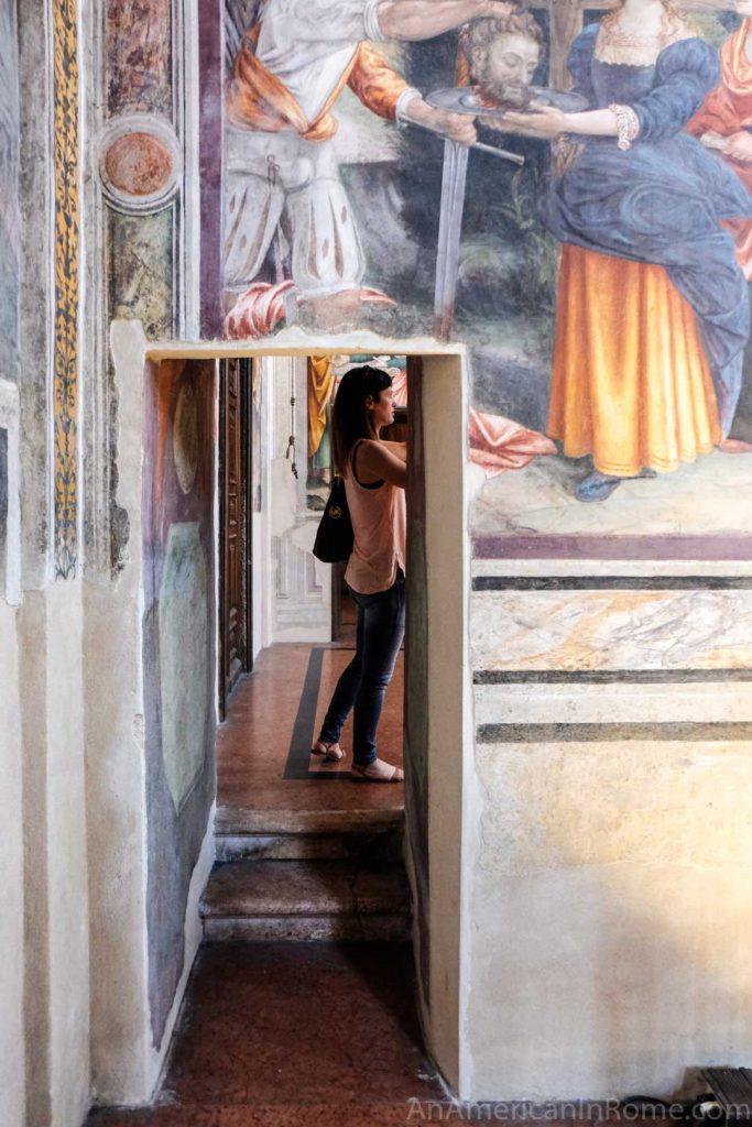 Dividing wall separating nuns in Milan's Sistine Chapel inside San Maurizio al Monastero Maggiore